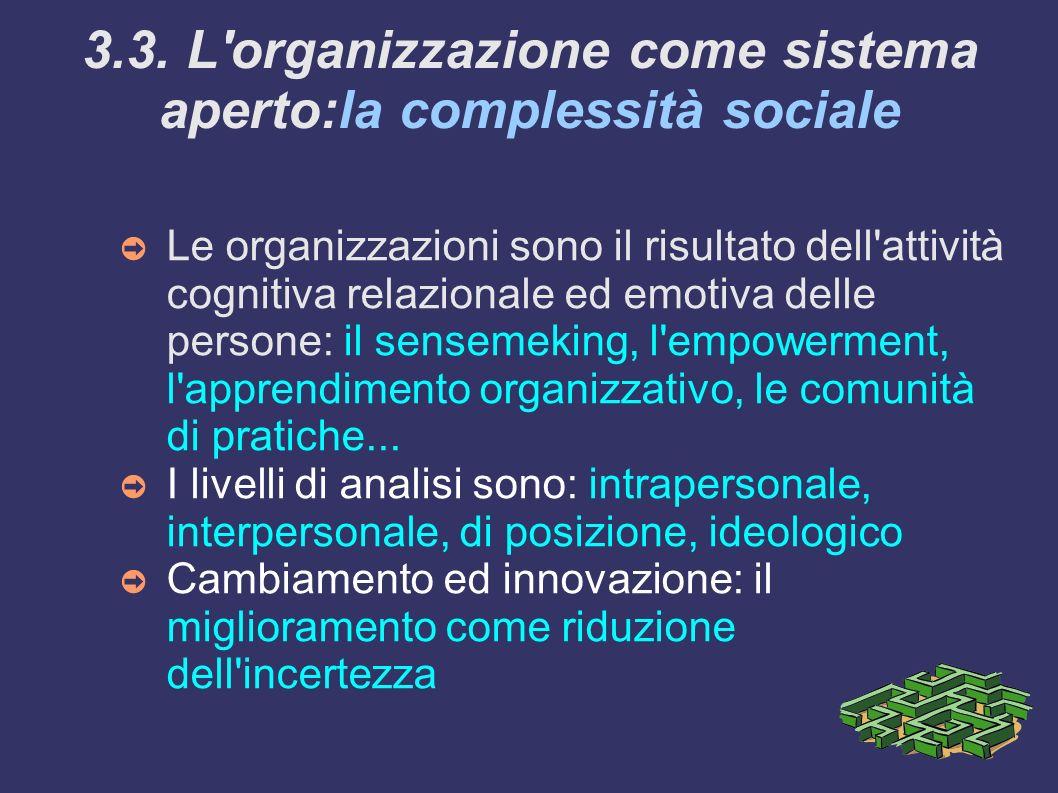 3.3. L organizzazione come sistema aperto:la complessità sociale