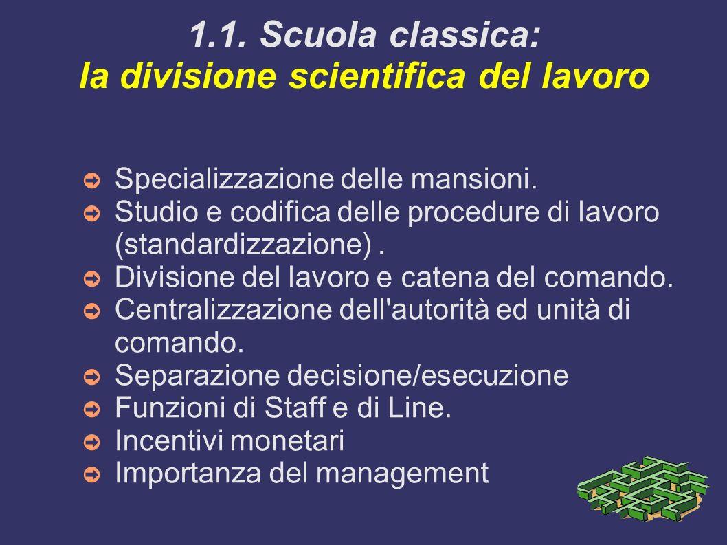1.1. Scuola classica: la divisione scientifica del lavoro