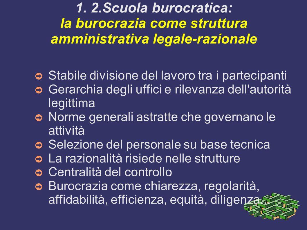1. 2.Scuola burocratica: la burocrazia come struttura amministrativa legale-razionale