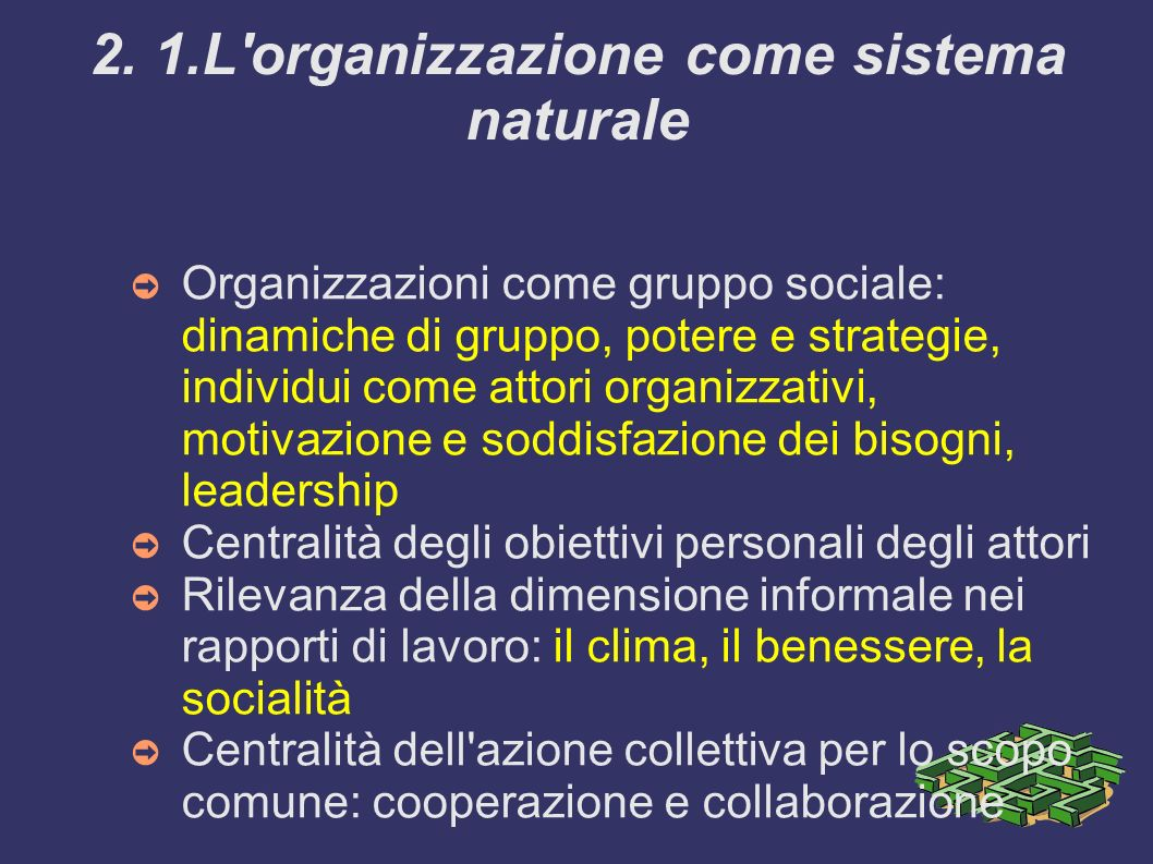 2. 1.L organizzazione come sistema naturale