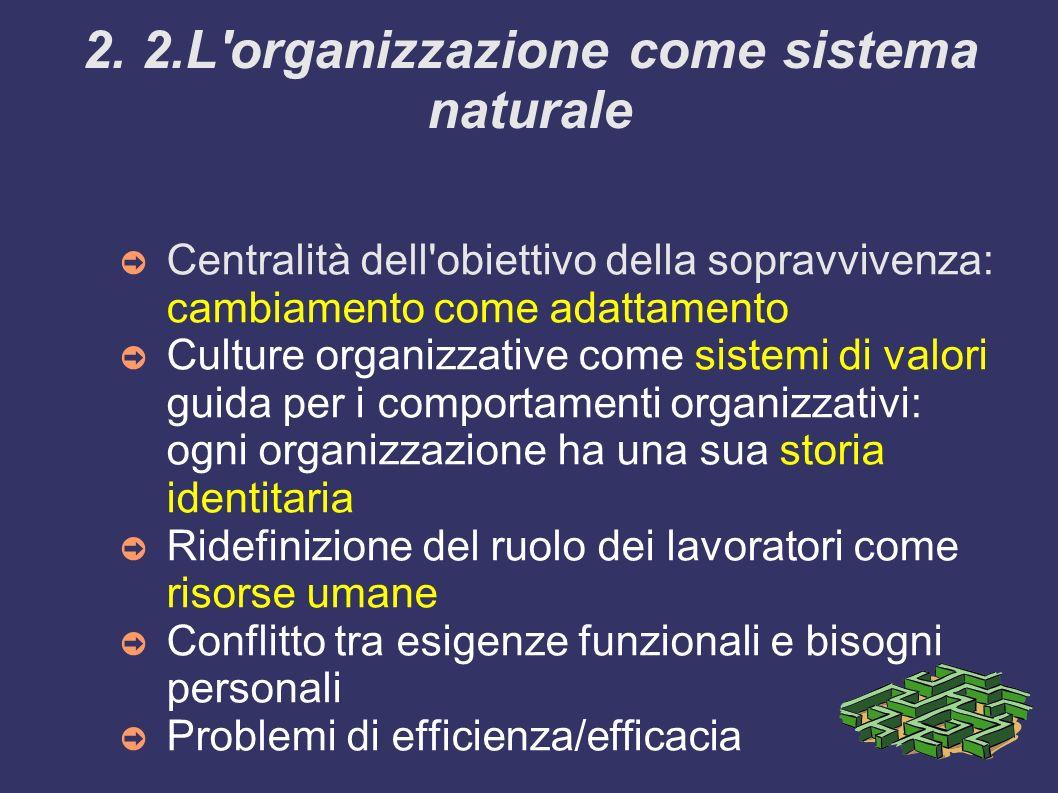 2. 2.L organizzazione come sistema naturale