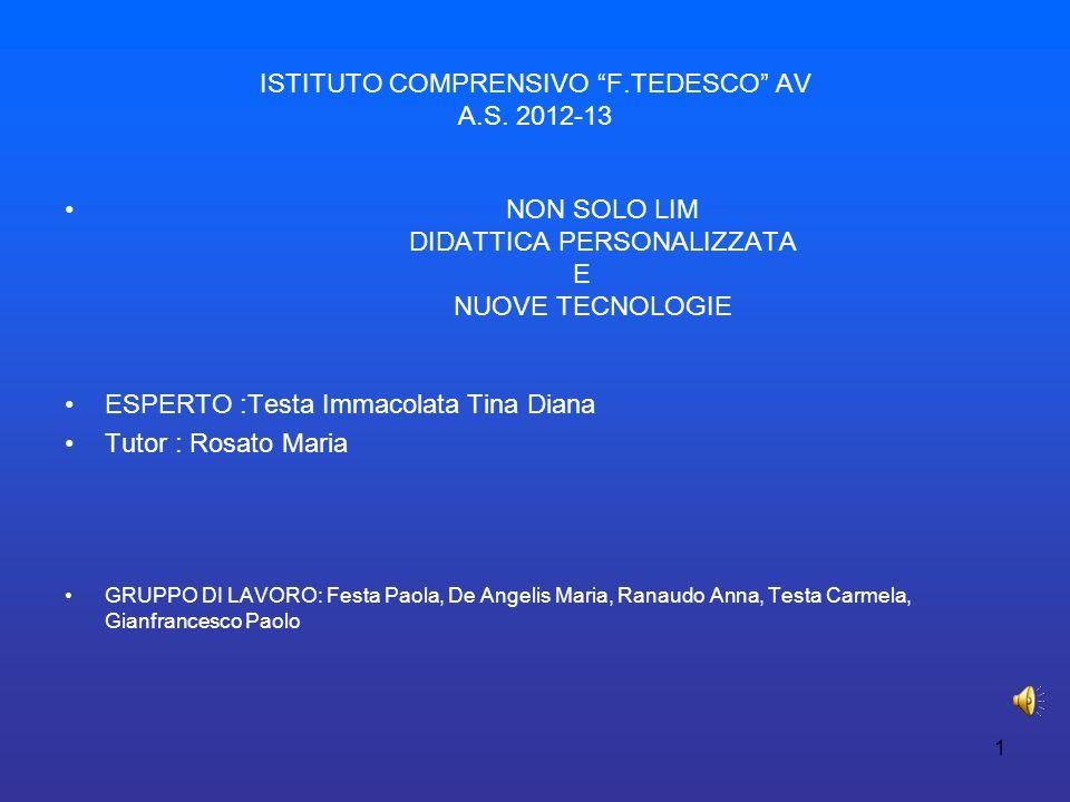 ISTITUTO COMPRENSIVO F.TEDESCO AV A.S. 2012-13