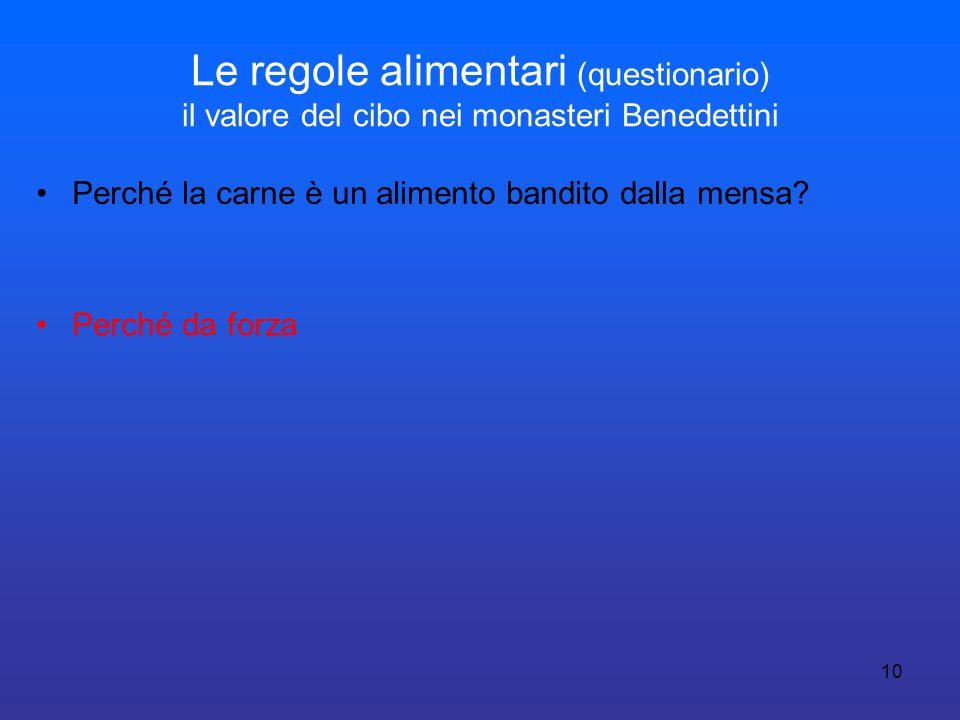 Le regole alimentari (questionario) il valore del cibo nei monasteri Benedettini