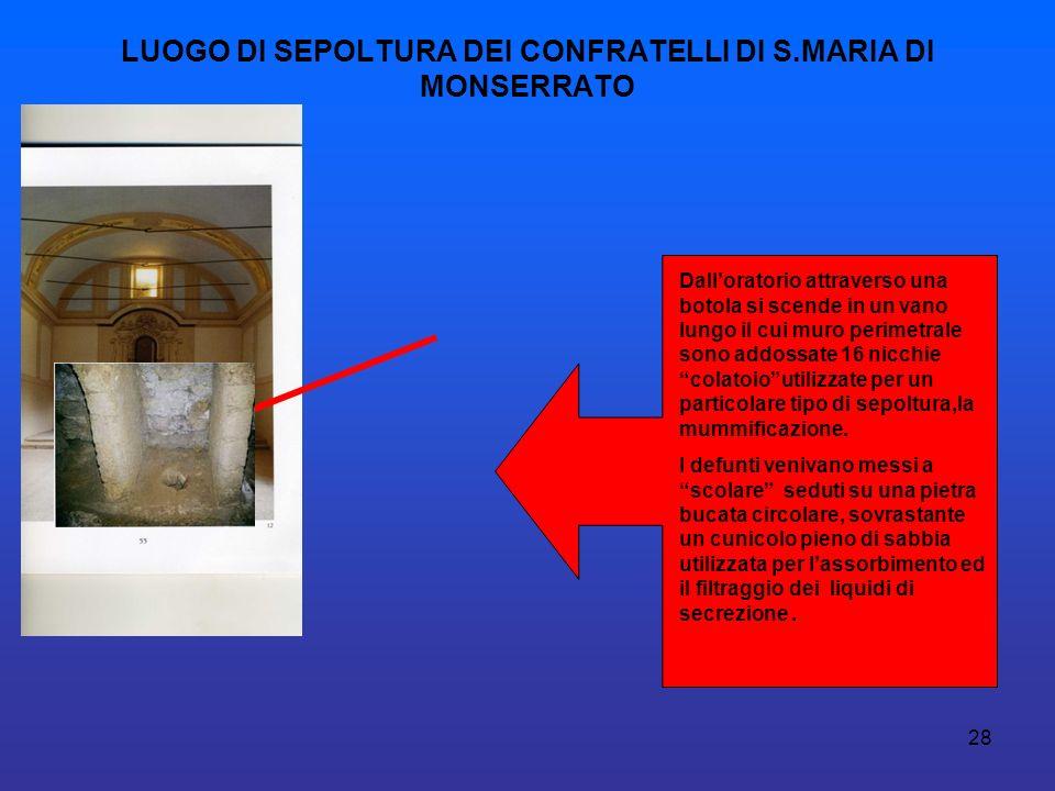 LUOGO DI SEPOLTURA DEI CONFRATELLI DI S.MARIA DI MONSERRATO
