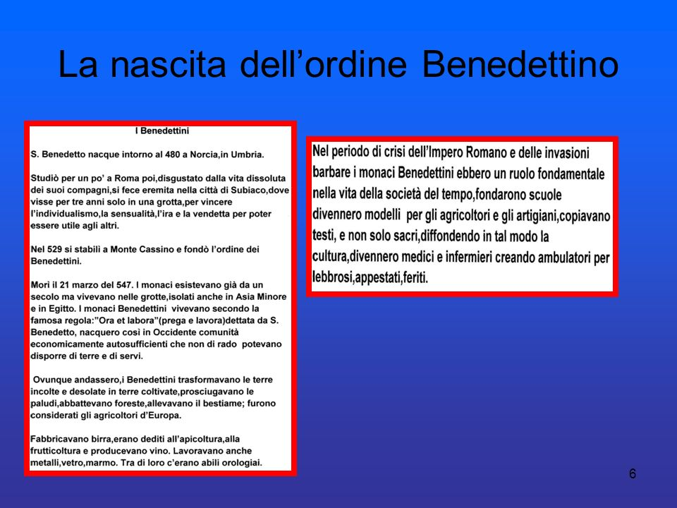 La nascita dell'ordine Benedettino