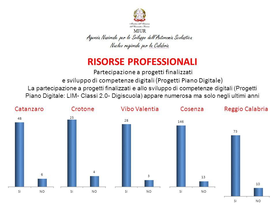 RISORSE PROFESSIONALI Partecipazione a progetti finalizzati e sviluppo di competenze digitali (Progetti Piano Digitale)