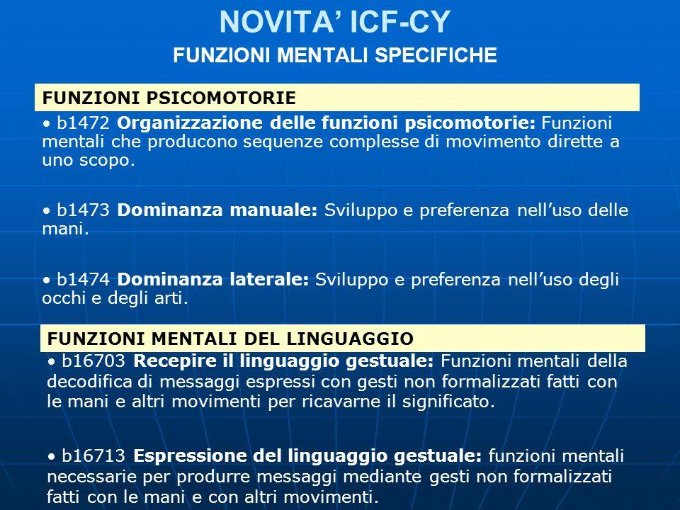 NOVITA' ICF-CY FUNZIONI MENTALI SPECIFICHE