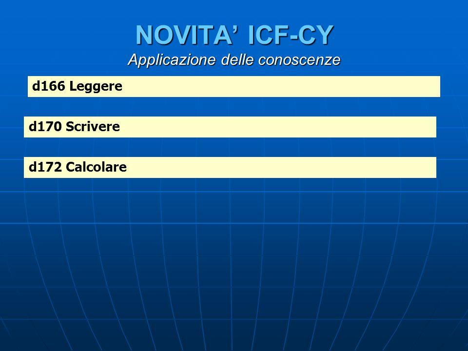 NOVITA' ICF-CY Applicazione delle conoscenze