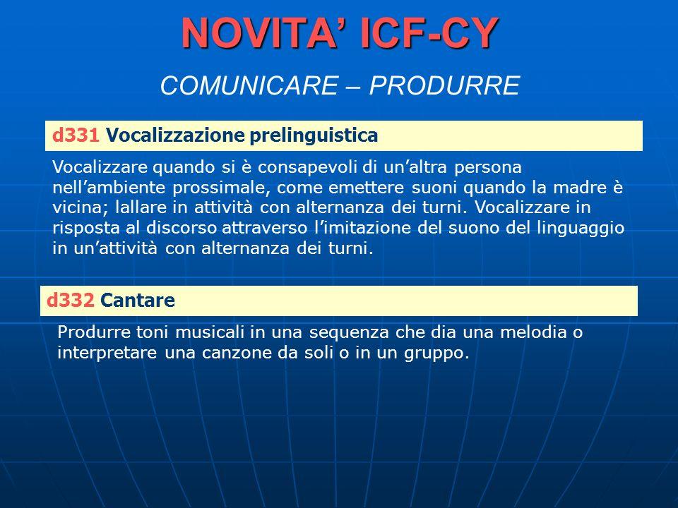 NOVITA' ICF-CY COMUNICARE – PRODURRE