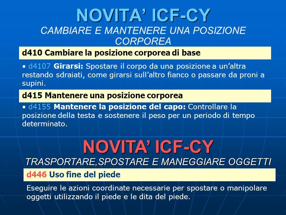 NOVITA' ICF-CY CAMBIARE E MANTENERE UNA POSIZIONE CORPOREA