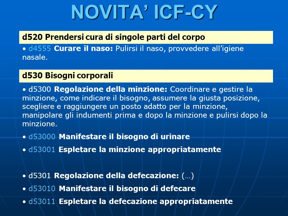 NOVITA' ICF-CY d520 Prendersi cura di singole parti del corpo