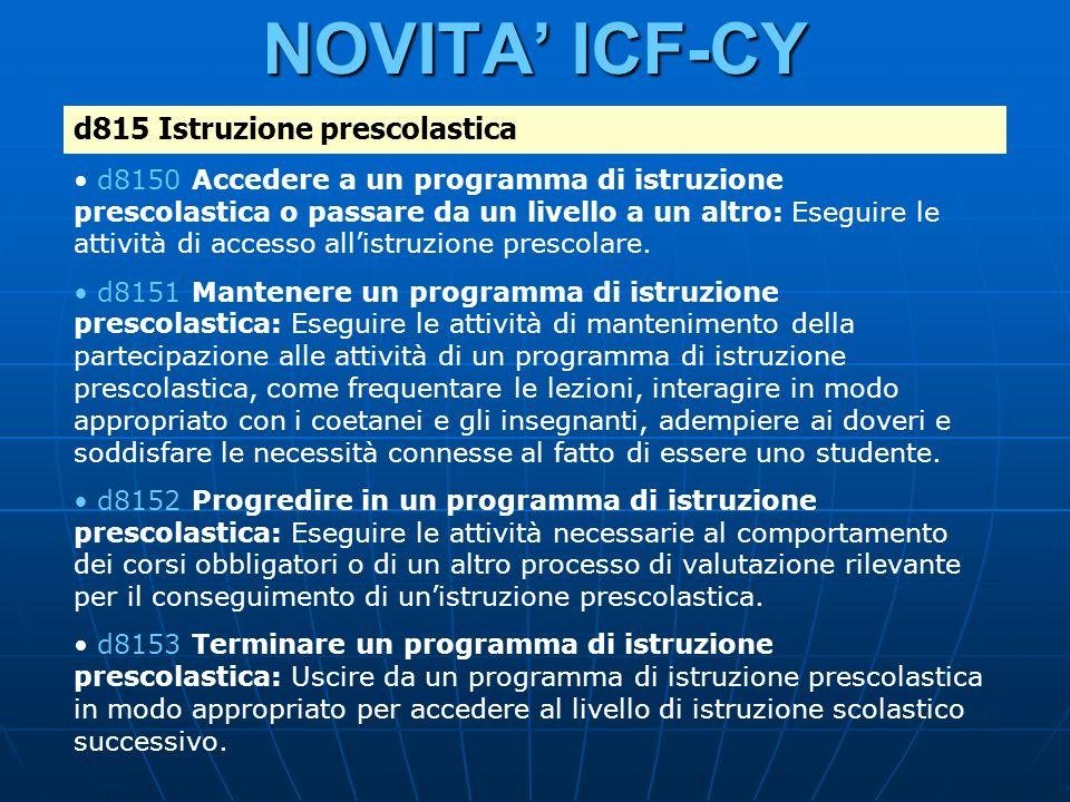 NOVITA' ICF-CY d815 Istruzione prescolastica