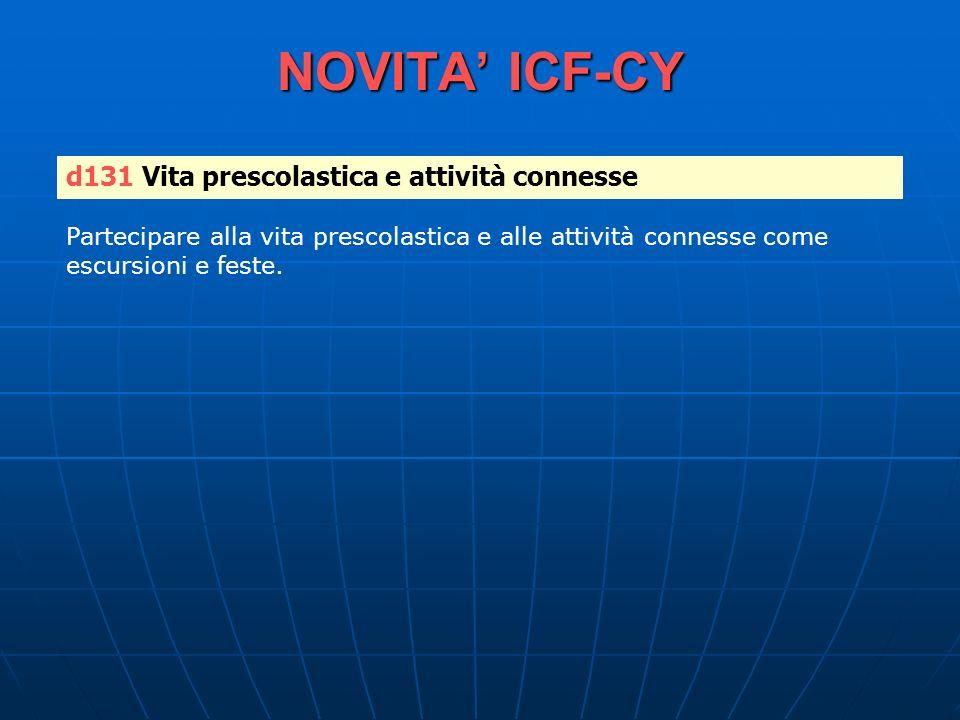 NOVITA' ICF-CY d131 Vita prescolastica e attività connesse