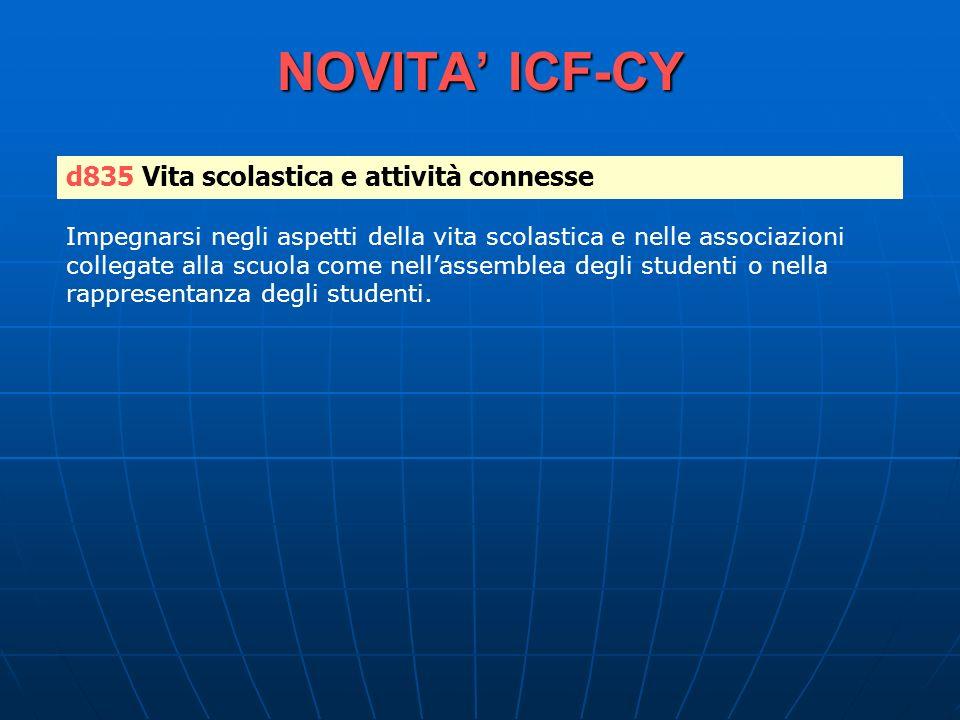 NOVITA' ICF-CY d835 Vita scolastica e attività connesse