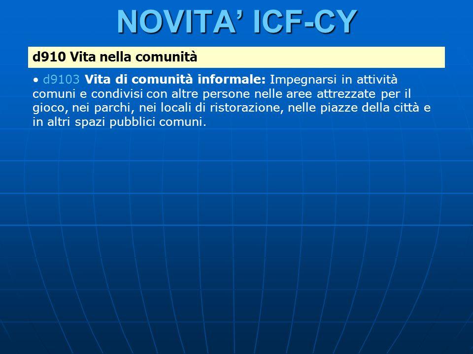 NOVITA' ICF-CY d910 Vita nella comunità