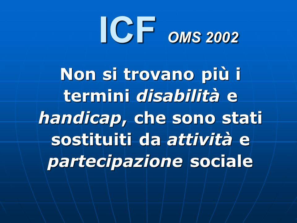 ICF OMS 2002 Non si trovano più i termini disabilità e handicap, che sono stati sostituiti da attività e partecipazione sociale.
