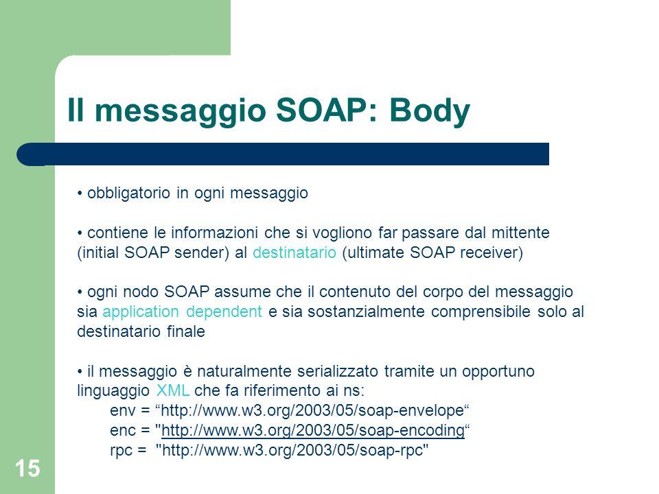 Il messaggio SOAP: Body