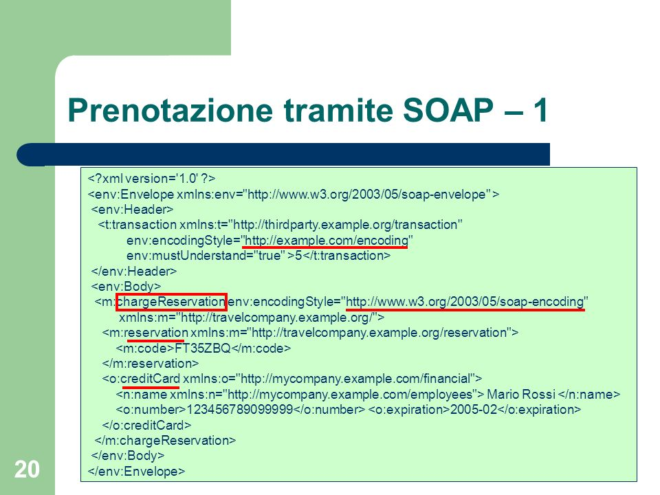 Prenotazione tramite SOAP – 1
