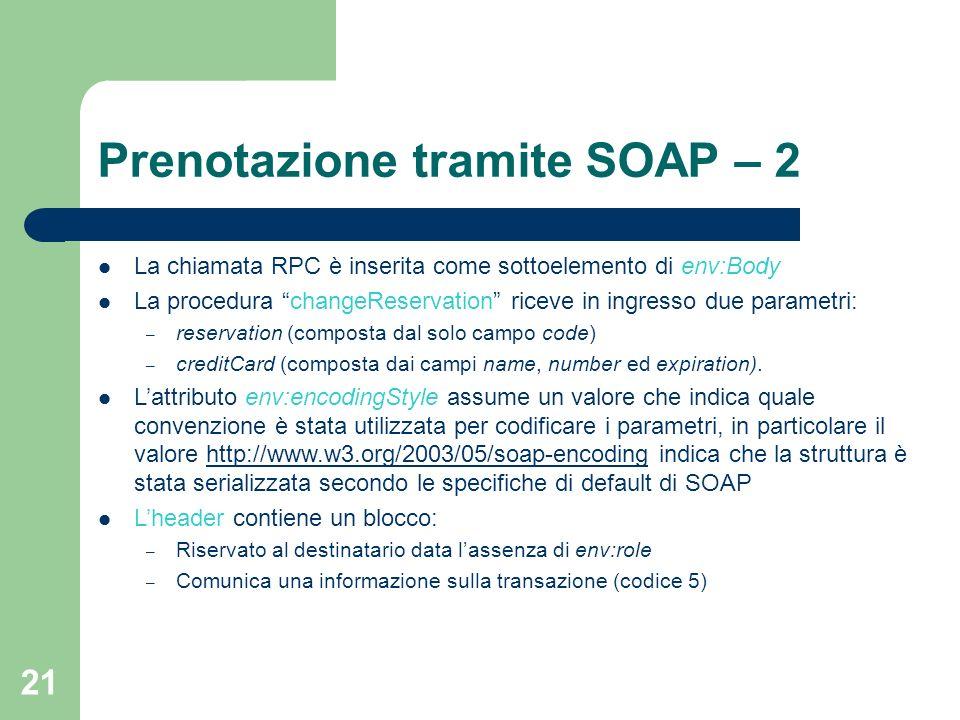 Prenotazione tramite SOAP – 2