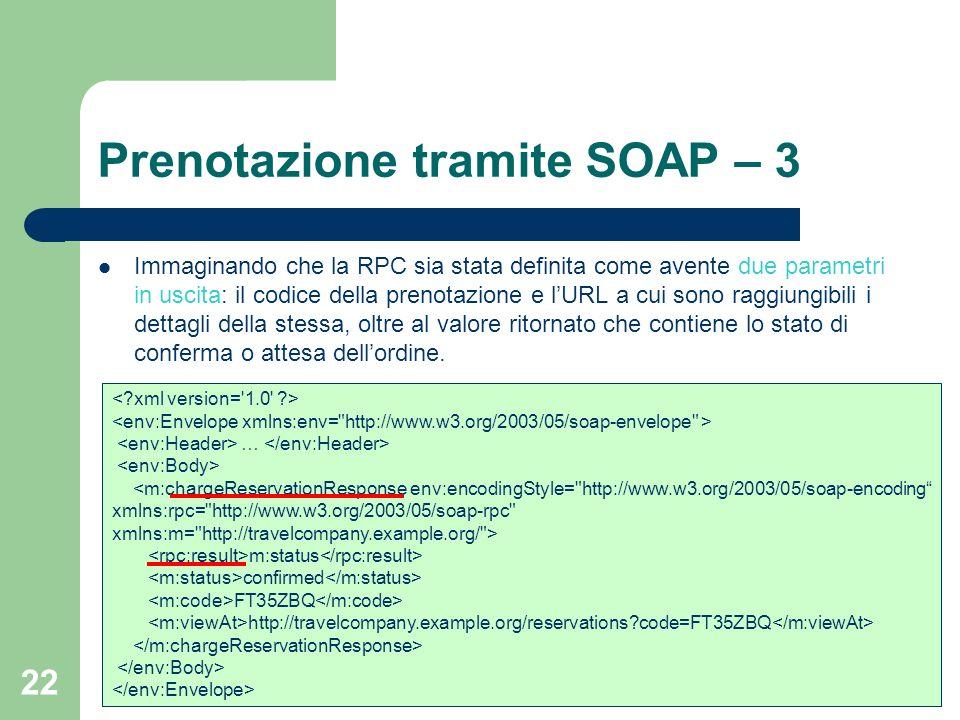 Prenotazione tramite SOAP – 3
