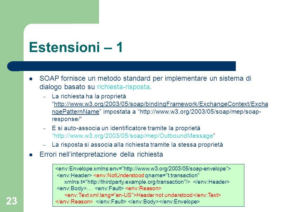 Estensioni – 1 SOAP fornisce un metodo standard per implementare un sistema di dialogo basato su richiesta-risposta.