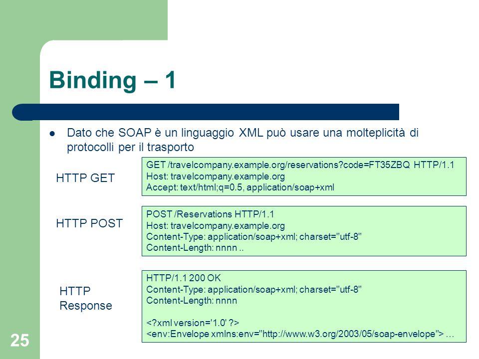 Binding – 1 Dato che SOAP è un linguaggio XML può usare una molteplicità di protocolli per il trasporto.