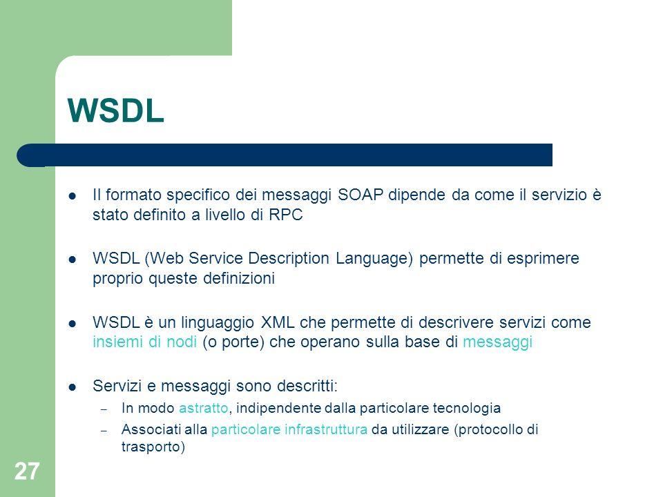 WSDL Il formato specifico dei messaggi SOAP dipende da come il servizio è stato definito a livello di RPC.
