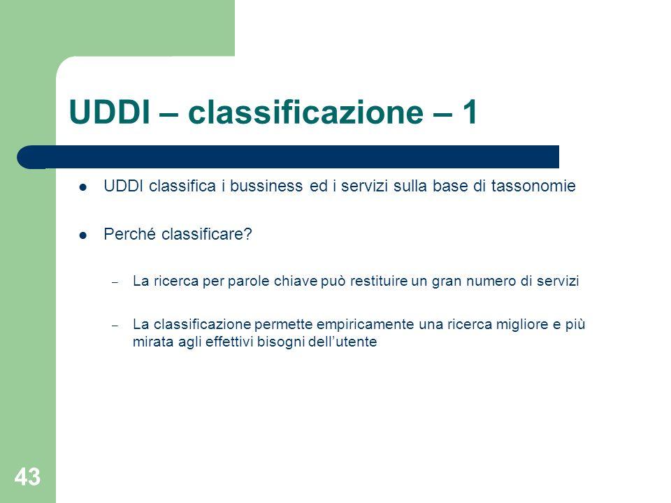 UDDI – classificazione – 1