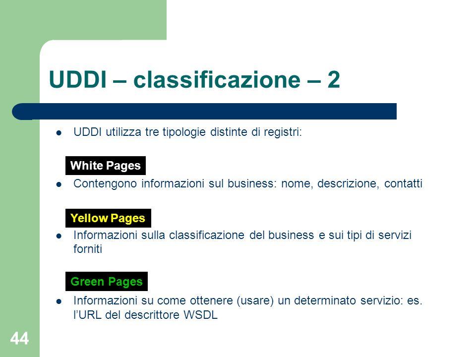 UDDI – classificazione – 2