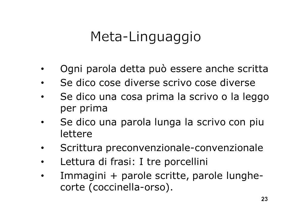 Meta-Linguaggio Ogni parola detta può essere anche scritta