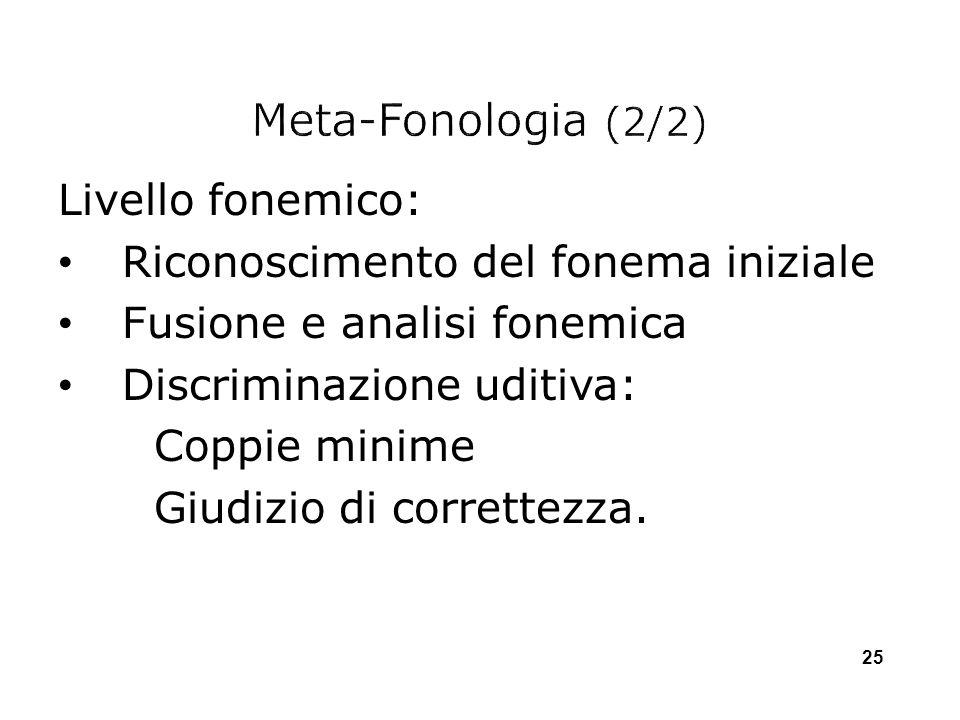 Meta-Fonologia (2/2) Livello fonemico: