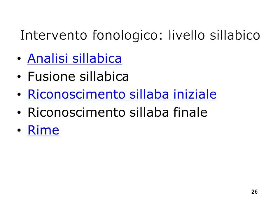Intervento fonologico: livello sillabico