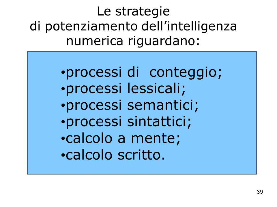 di potenziamento dell'intelligenza numerica riguardano: