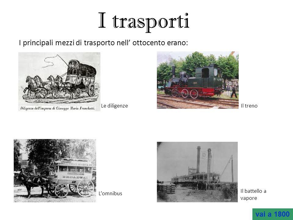 I trasporti I principali mezzi di trasporto nell' ottocento erano: