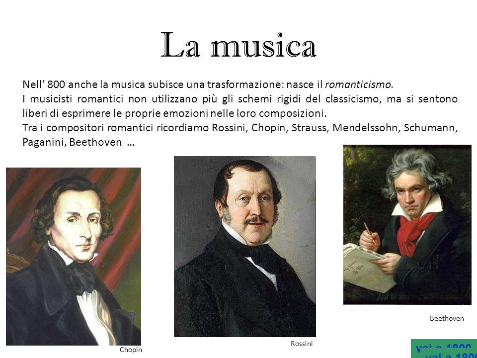 La musica Nell' 800 anche la musica subisce una trasformazione: nasce il romanticismo.