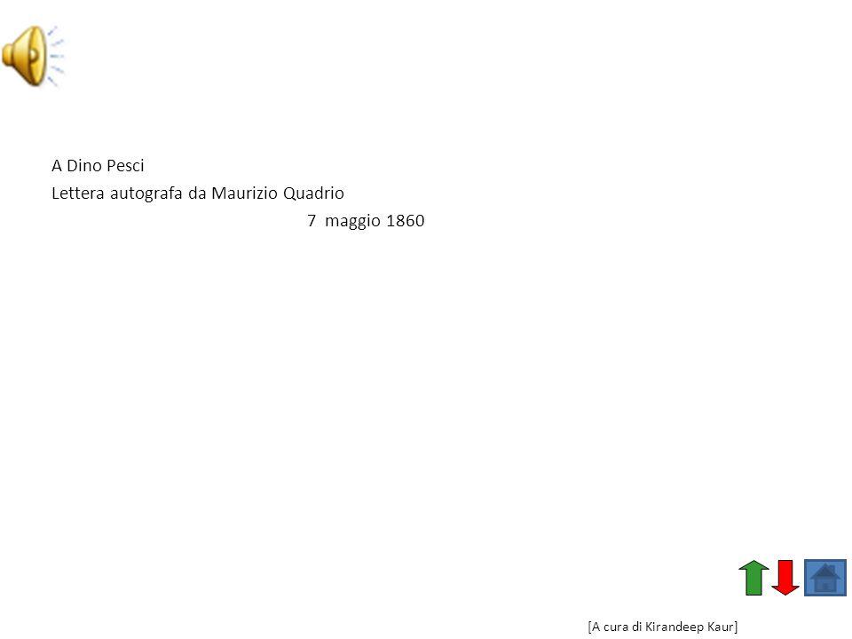 Lettera autografa da Maurizio Quadrio 7 maggio 1860