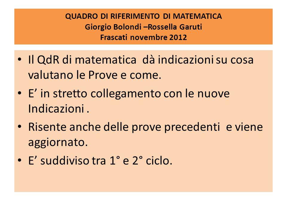 Il QdR di matematica dà indicazioni su cosa valutano le Prove e come.
