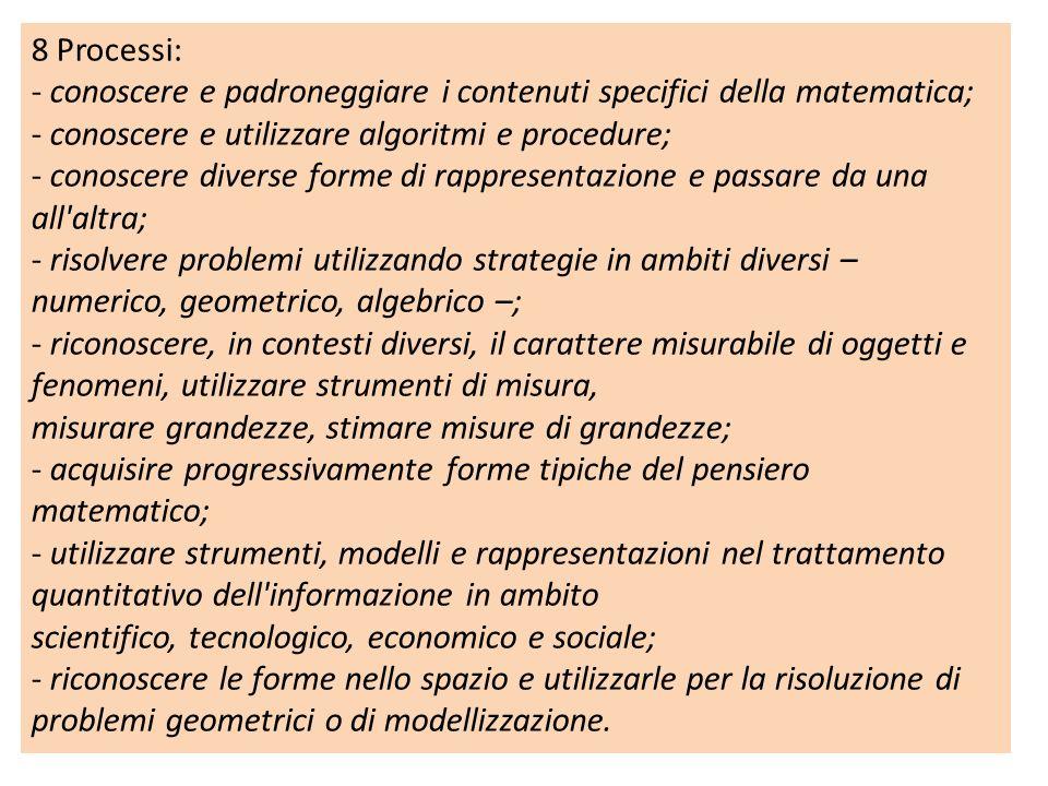 8 Processi: - conoscere e padroneggiare i contenuti specifici della matematica; - conoscere e utilizzare algoritmi e procedure;