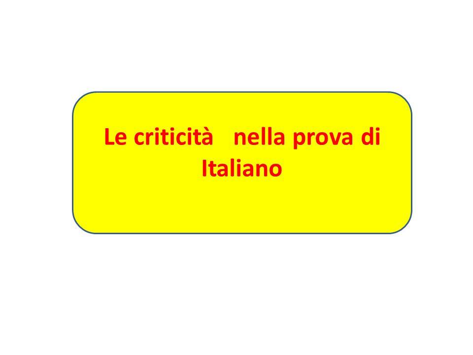 Le criticità nella prova di Italiano