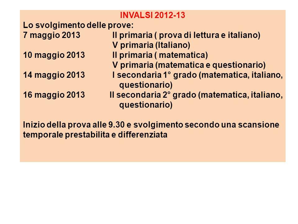 INVALSI 2012-13 Lo svolgimento delle prove: 7 maggio 2013 II primaria ( prova di lettura e italiano)