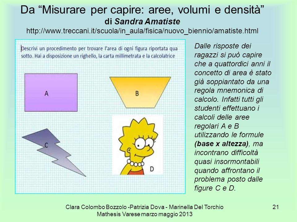Da Misurare per capire: aree, volumi e densità di Sandra Amatiste http://www.treccani.it/scuola/in_aula/fisica/nuovo_biennio/amatiste.html