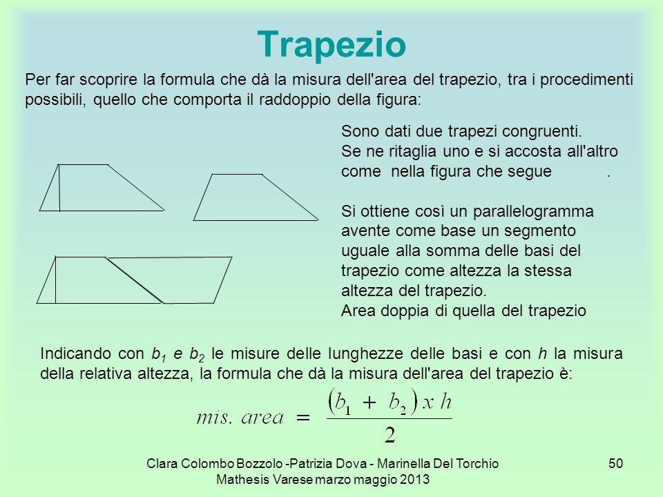 Trapezio Per far scoprire la formula che dà la misura dell area del trapezio, tra i procedimenti.