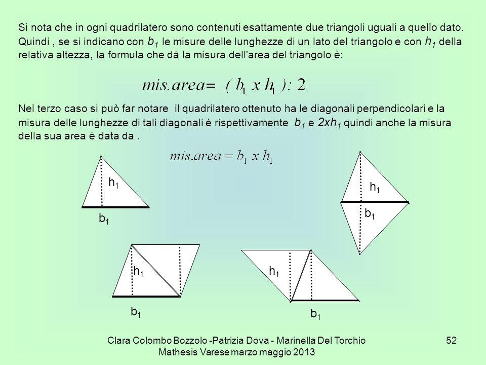 Si nota che in ogni quadrilatero sono contenuti esattamente due triangoli uguali a quello dato.