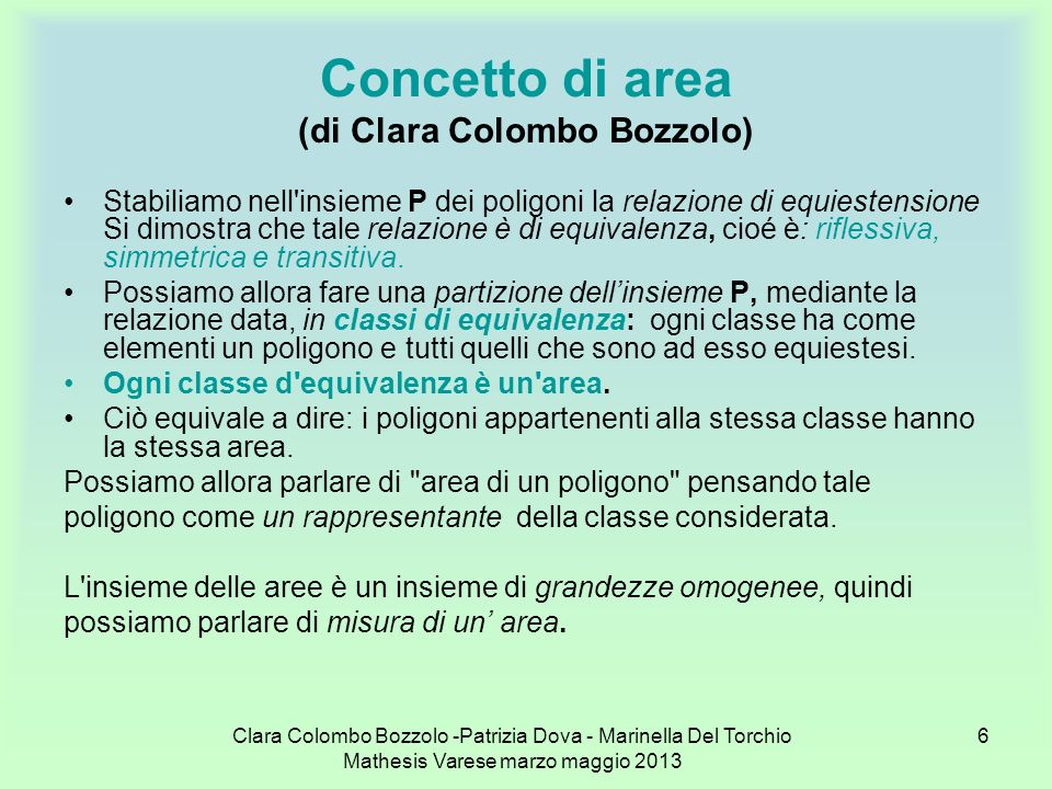 Concetto di area (di Clara Colombo Bozzolo)