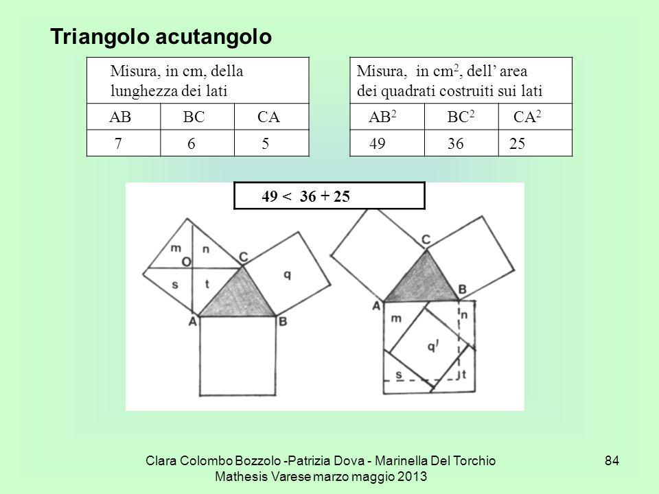 Triangolo acutangolo Misura, in cm, della lunghezza dei lati