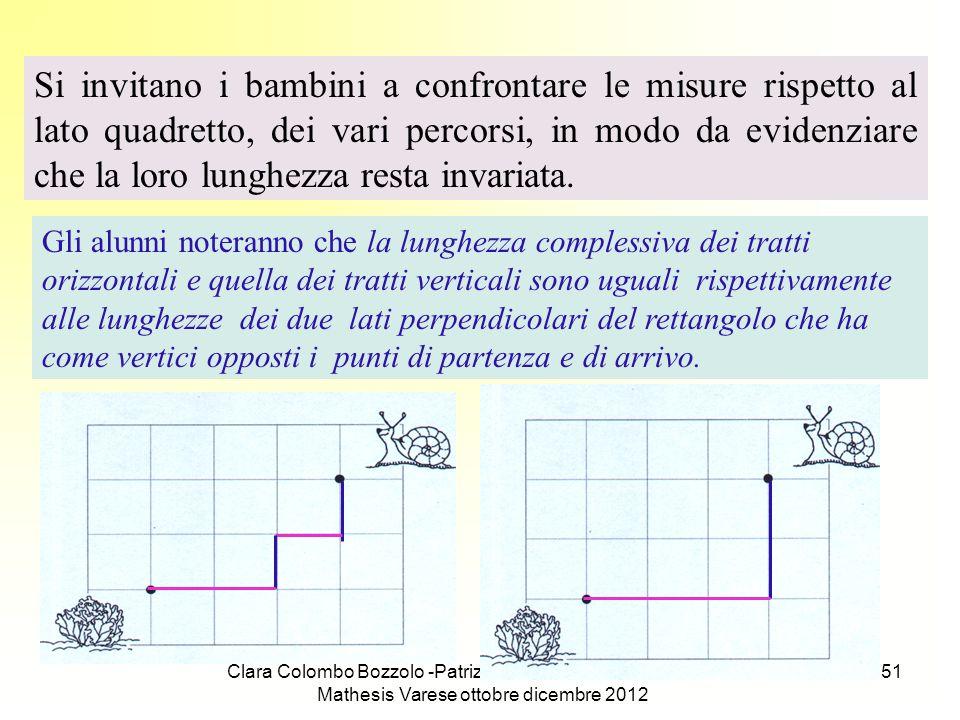 Si invitano i bambini a confrontare le misure rispetto al lato quadretto, dei vari percorsi, in modo da evidenziare che la loro lunghezza resta invariata.