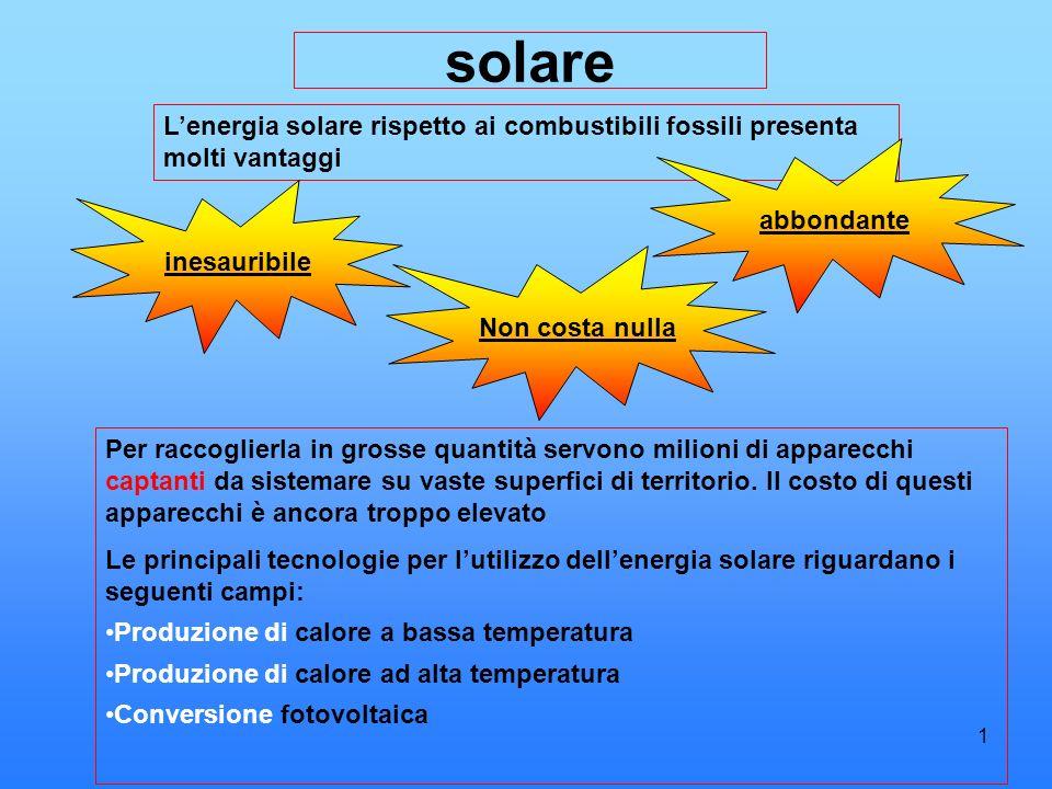 solareL'energia solare rispetto ai combustibili fossili presenta molti vantaggi. abbondante. inesauribile.