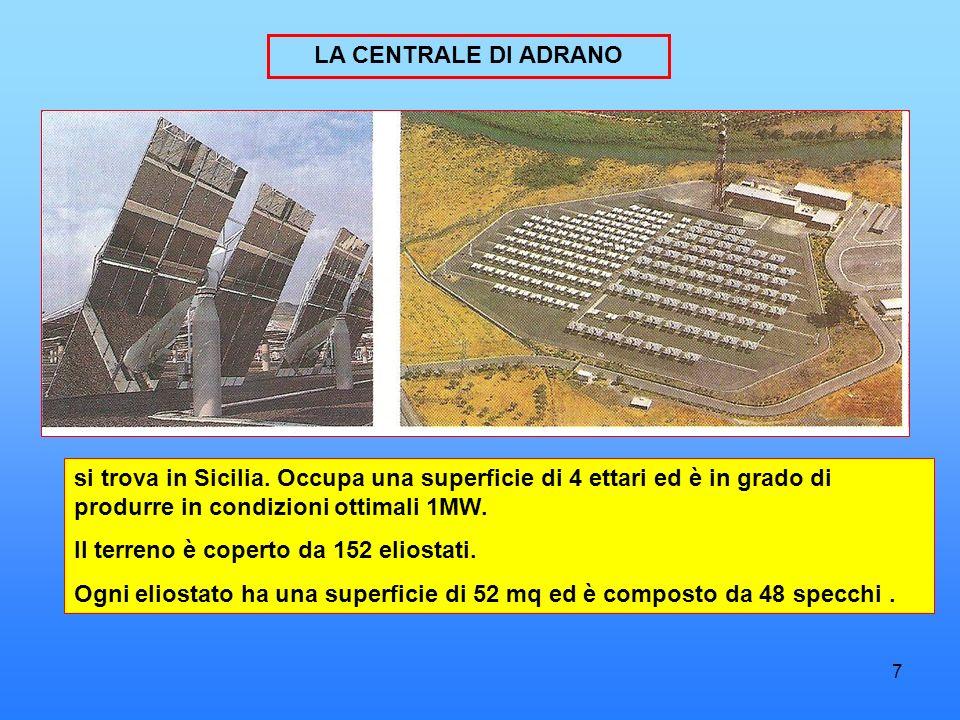 LA CENTRALE DI ADRANO si trova in Sicilia. Occupa una superficie di 4 ettari ed è in grado di produrre in condizioni ottimali 1MW.