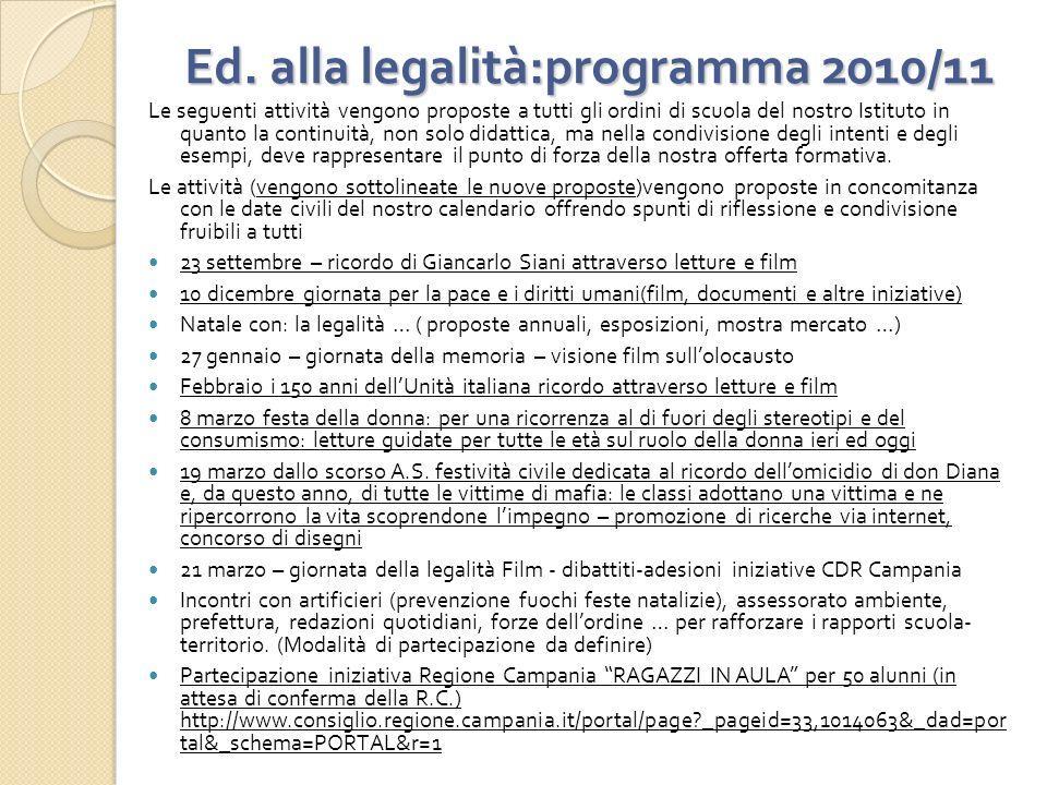 Ed. alla legalità:programma 2010/11