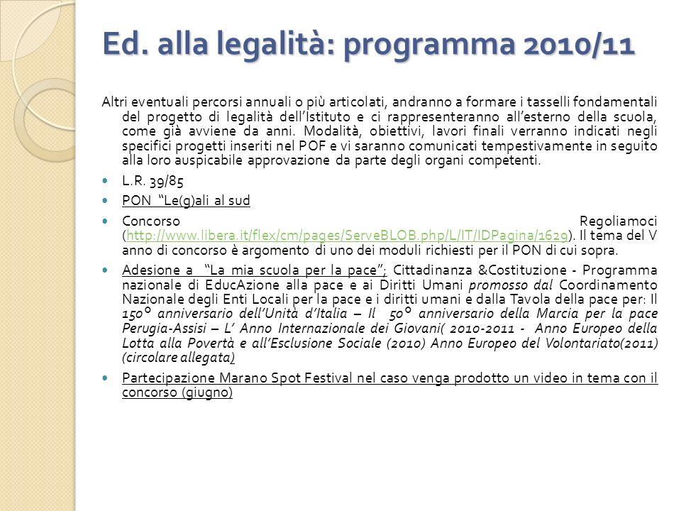 Ed. alla legalità: programma 2010/11